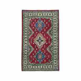 Red Kazak Pure Wool Geometric Design Handmade Rug