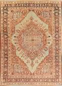 Pre-1900 Vegetable Dye Tabriz Haj Jalili Persian Rug