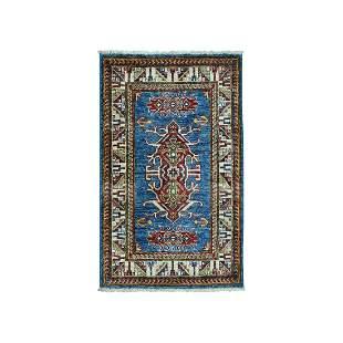 Super Kazak Pure Wool Blue Geometric Design