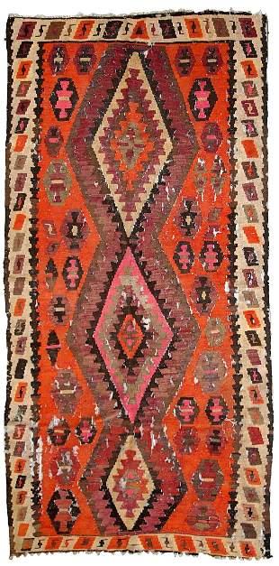 Handmade antique Afghan distressed kilim 4.1' x 8.5'