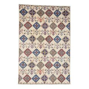Hand-Knotted Pure Wool Ivory Special Kazak Oriental Rug