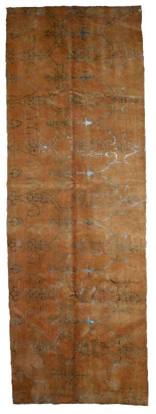 Handmade vintage Tibetan Modern runner with silk 3.7' x