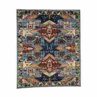 Hand-Knotted Peshawar With Kazak Design Oriental Rug