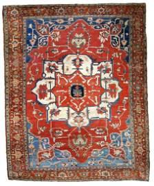 Handmade antique Persian Serapi rug 8.10' x 11.7'