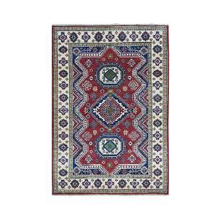 Red Kazak Geometric Design Pure Wool Hand-Knotted