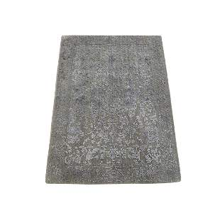 Hand-Loomed Wool and Silk Abstract Design Tone on Tone