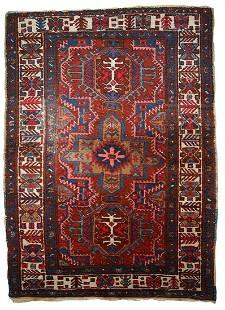 Handmade antique Persian Heriz rug 3.2' x 4.5' (97cm x