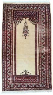 Handmade vintage prayer Pakistani Lahore rug 2.5' x