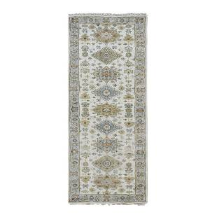 Ivory Pure Wool Geometric Design Runner Hand Knotted