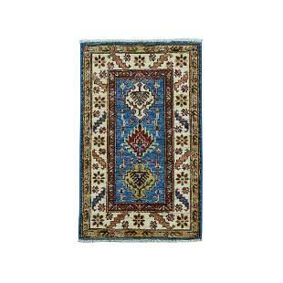 Blue Super Kazak Geometric Design Pure Wool