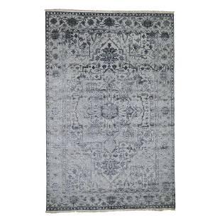 Silver Heriz Design Wool And Silk Hi-lo Pile