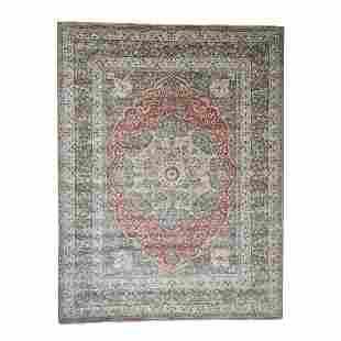 Hand-Knotted Antiqued Haji Jalili Tabriz Re-creation