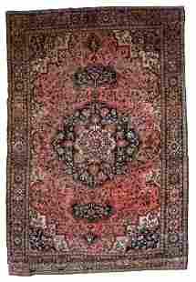 Handmade antique Persian Sarouk Farahan rug 4.1' x 6.3'