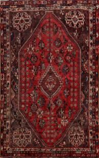 Antique Tribal Geometric Shiraz Persian Area Rug 6x8