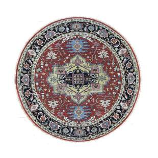 Round Red Heriz Revival Pure Wool Hand Knotted Oriental