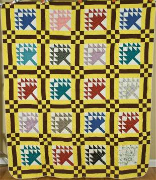 40's Tree of Life Nine Patch Quilt