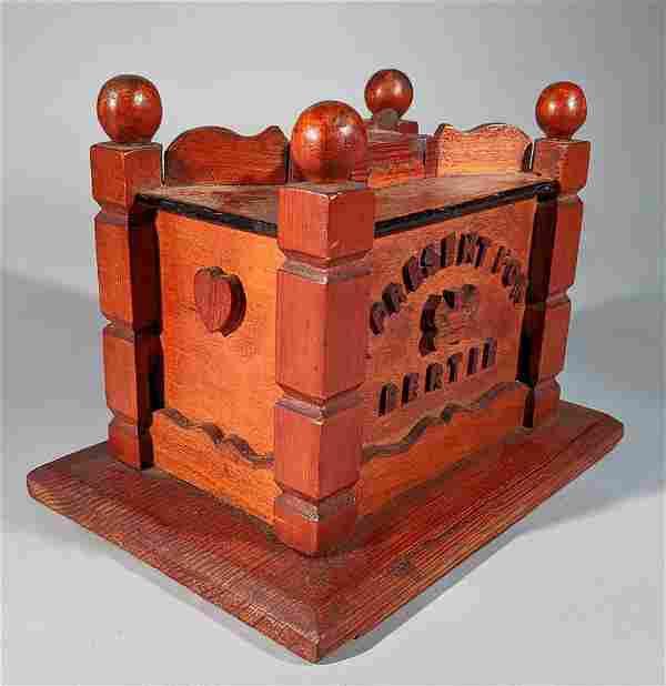 """Bertie"" Folk Art Carved Bank for Prince Albert"
