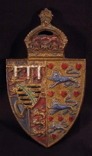 Miniature Painted Bronze Royal Shield
