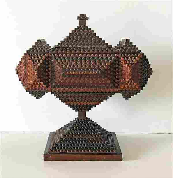 Fine Tramp Art Pedestal Box