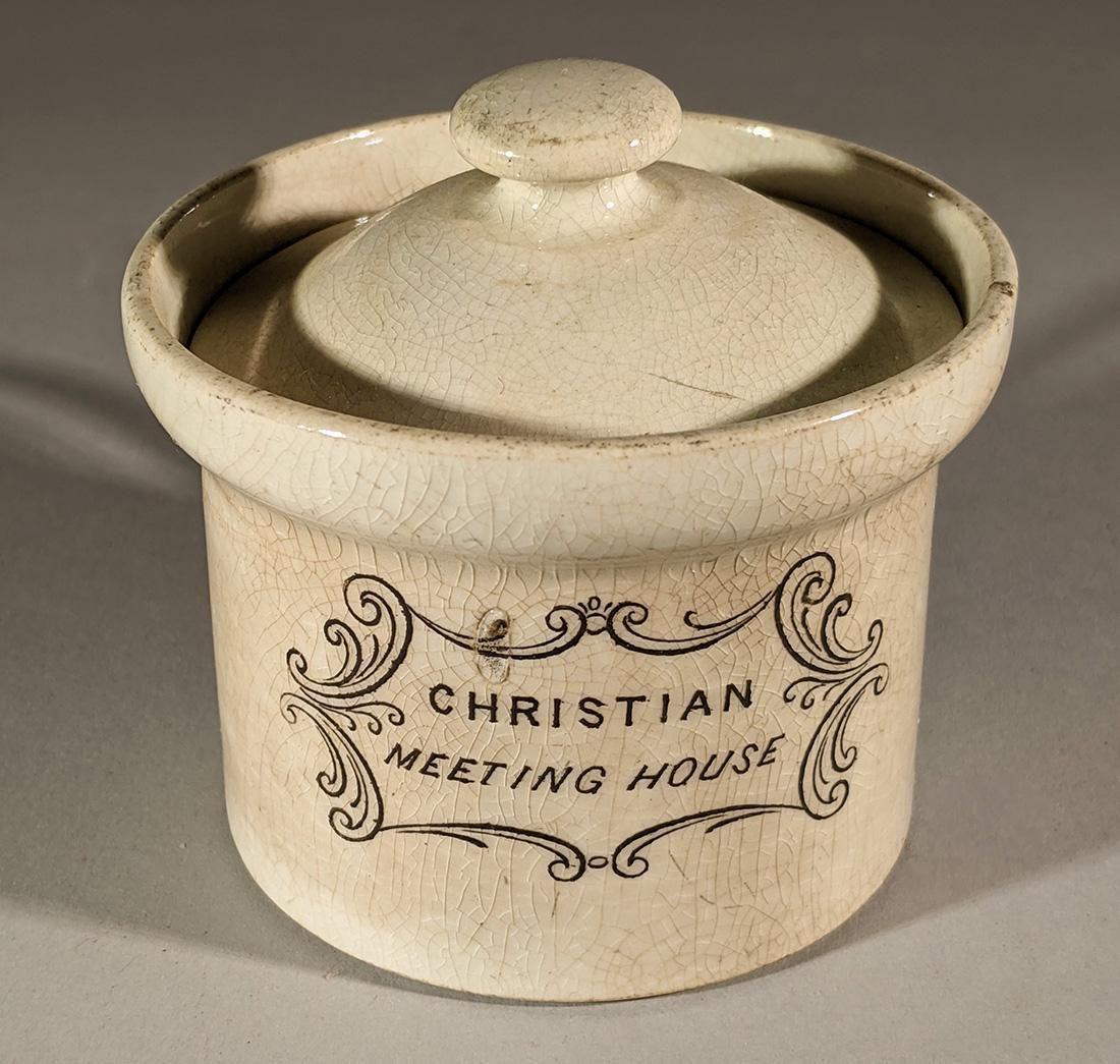 "19th C. Creamware ""Christian Meeting House"" Pot"