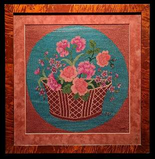 Signed Colorful Petty Point Needlework