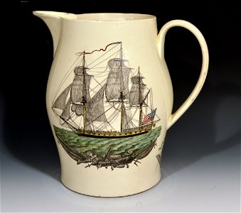 Liverpool Creamware American Ship Jug, Possibly