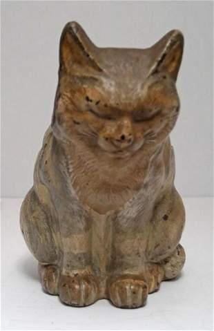 Antique Sleeping Tabby Cat Cast Iron Hubley Doorstop