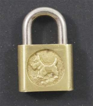 Antique Brass Padlock with Scottie Dog Design
