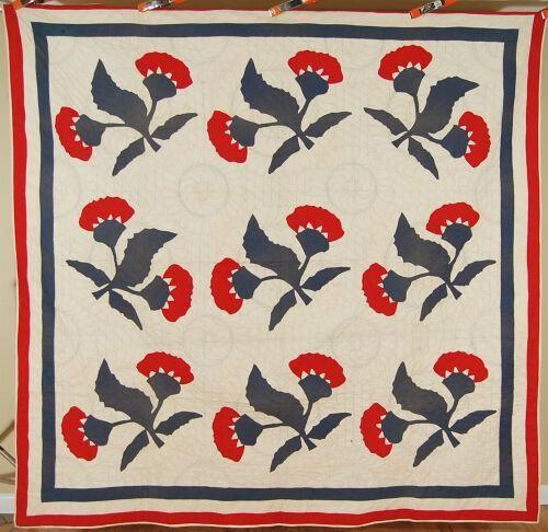 1870's Red & Green Coxcomb Applique Quilt