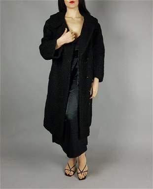 BLACK CURLY LAMB FUR COAT