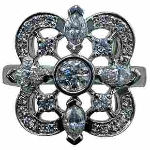 Kwiat White Gold and Diamond Floral Coctail Ring Size