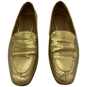 The Row Adam Mocassin Gold Watersnake Flat Shoes Size