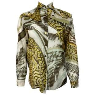 Emilio Pucci Brown Silk and Cotton Button Down Long