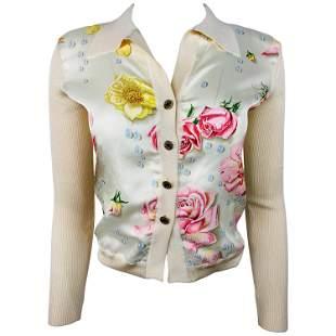 Hermes- Paris Beige Silk and Knit Button Down Top Size