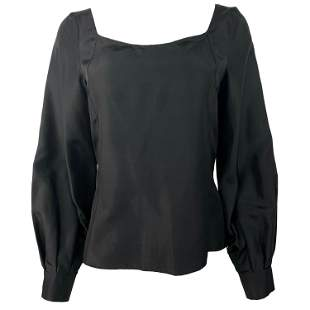 Deitas Black Silk Balloon Sleeve Blouse Top Size 38