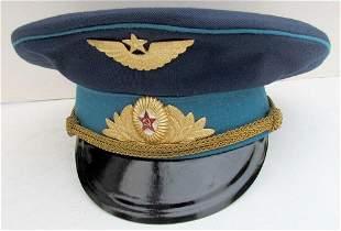 VINTAGE RUSSIAN AIR FORCE OFFICER'S UNIFORM VISOR HAT