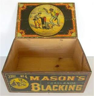 MASON'S CHALLENGE BLACKING WOODEN BOX ANTIQUE shoe