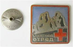 RUSSIAN SOVIET VINTAGE BADGE RED CROSS LIFE SAVING UNIT