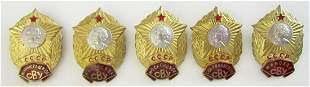 LOT of 5 RUSSIAN SOVIET MILITARY SCHOOLS BADGES