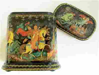 RUSSIAN LACQUER BOX PALEKH 1999 SIGNED ALL SIDES HAND