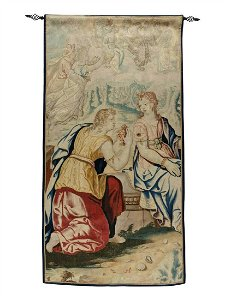 17th CENTURY FLEMISH TAPESTRY FRAGMENT ANTIQUE 9 x 4.5