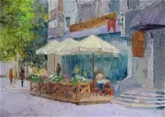 Oil painting Cafe. Cityscape Serdyuk Boris Petrovich