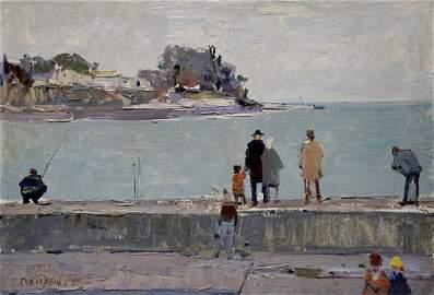 Oil painting On the embankment Pyotr Kuzmich