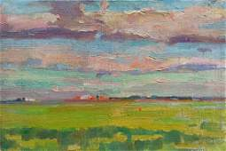 Oil painting Field landscape Peter Tovpev