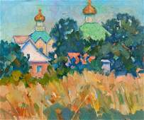 Oil painting Church landscape Peter Tovpev