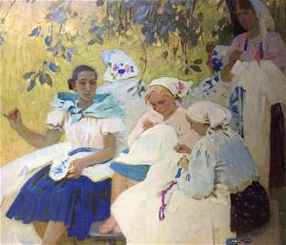 Oil painting Embroiderers Vyrodova-Gautier Valentina