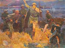 Oil painting The soldiers Unknown author