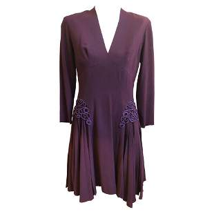 Jacques FATH Museum 1940s Quality Aubergine Wool Crepe