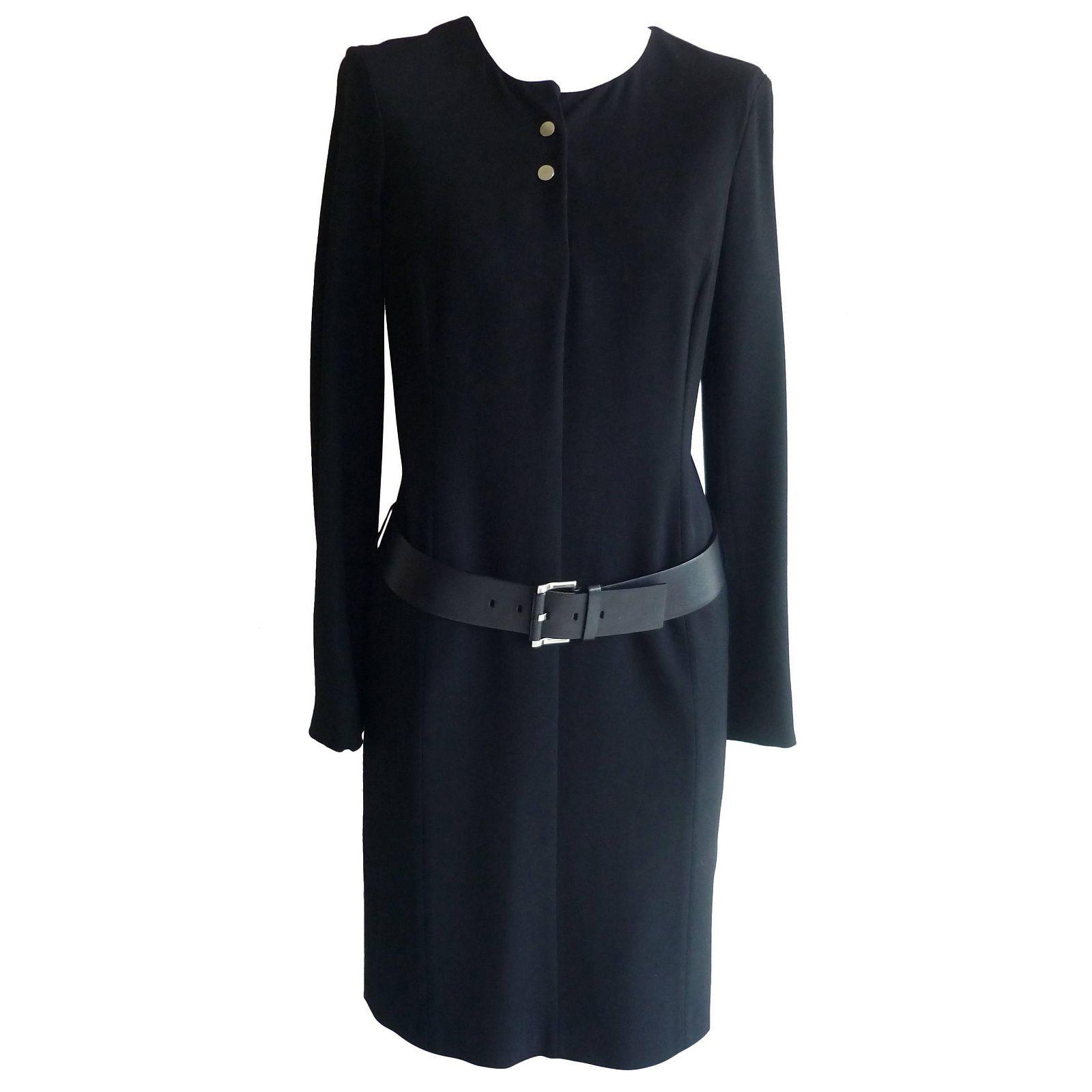 Jil Sander Black Virgin Wool Drop Waist Dress