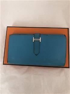 HERMES Bearn Long Wallet (R) W/COA and Box